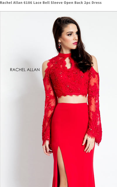Lace Bell Sleeve Open Back 2pc Red Dress