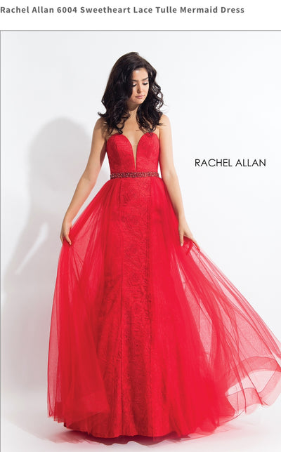 Sweetheart Lace Tulle Mermaid Red Dress
