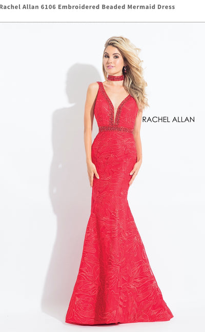 Embroidered Beaded Mermaid Red Dress