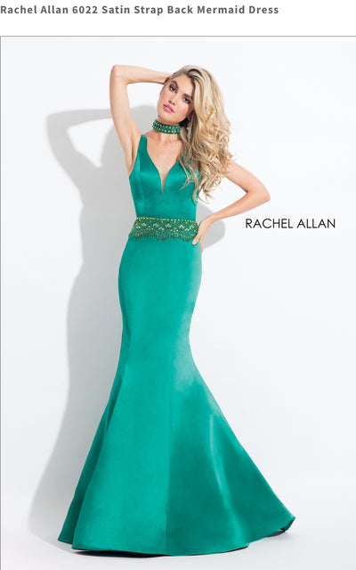 Satin Strap Back Mermaid Green Dress