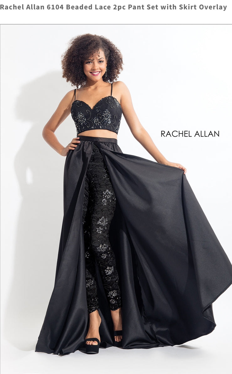 Beaded Lace 2pc Pant Set with Skirt Overlay