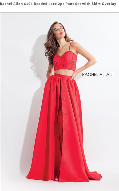 Beaded Lace 2pc Pant Set with Skirt Overlay Red