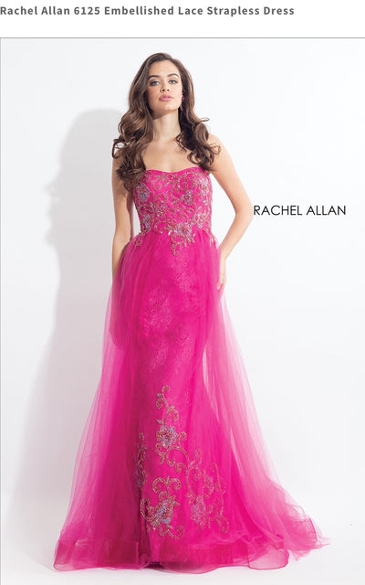 Embellished Lace Strapless Fucsia Dress