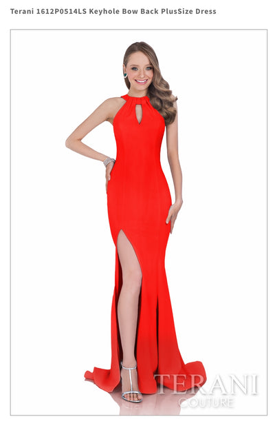 Keyhole Bow Back PlusSize Red Dress