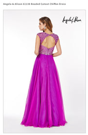 Beaded Cutout Chiffon Dress