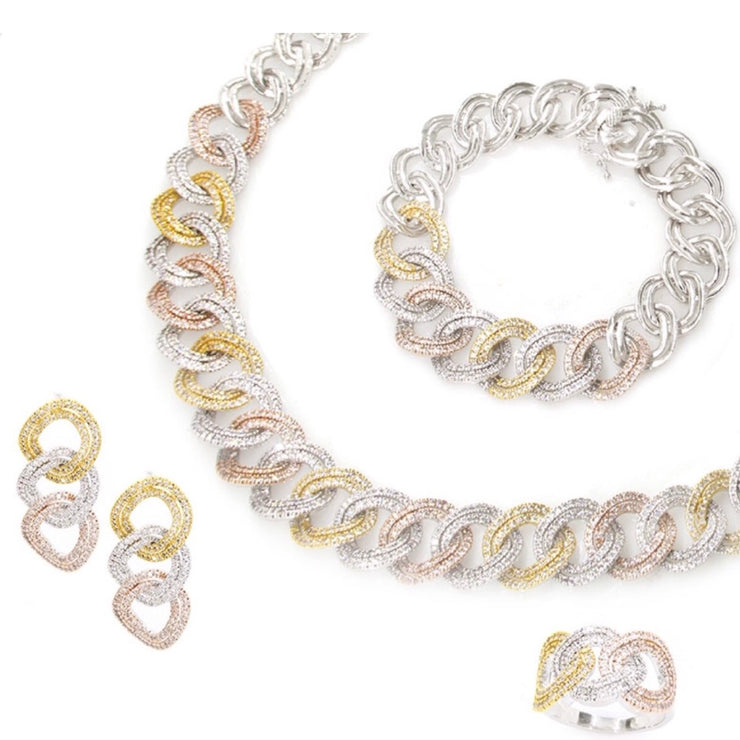 Three-Tone Link Chain Set with CZ of Jewels