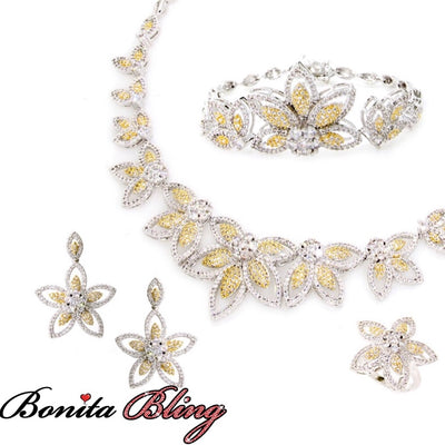 Two-Tone Flower CZ Set