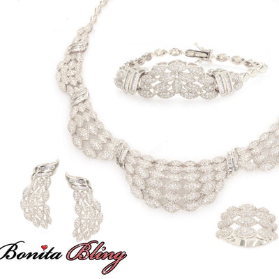Rhodium Plated Cubic Zirconia Set