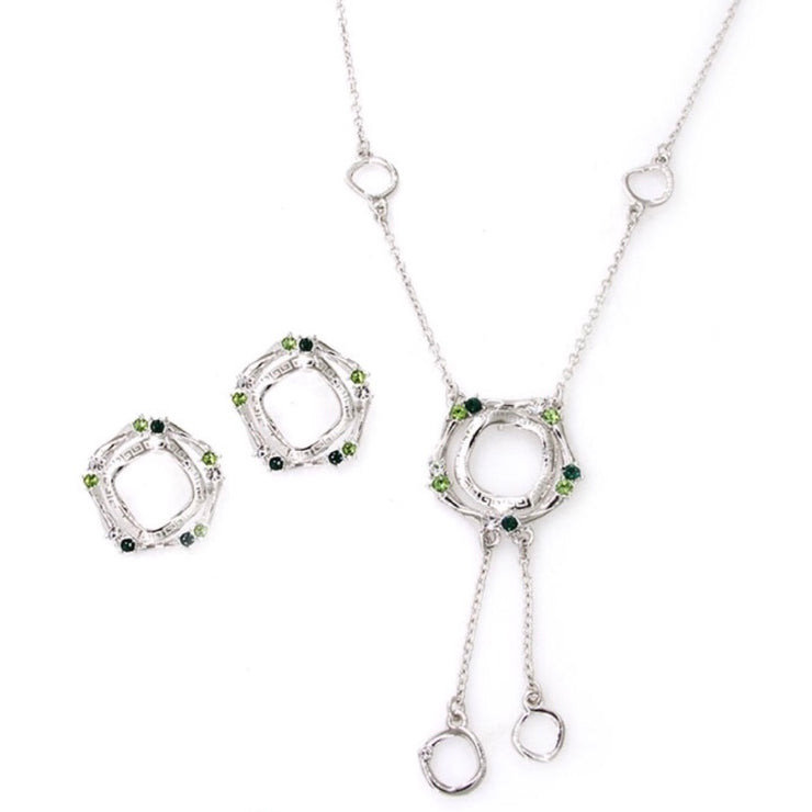 Rhodium Plated 2-Pcs Set With Crystal