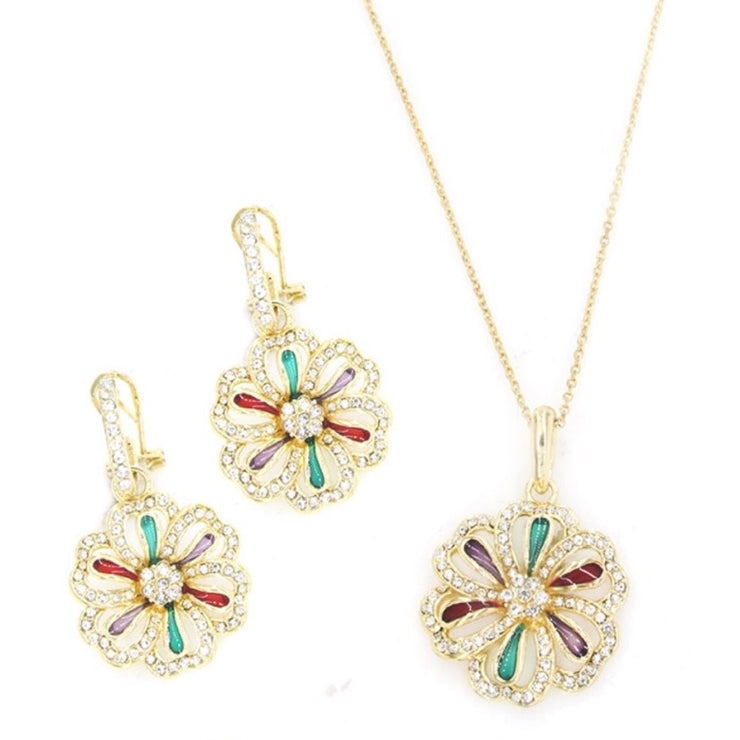 Gold Plated 2-Pcs Set with Enamel and Crystal