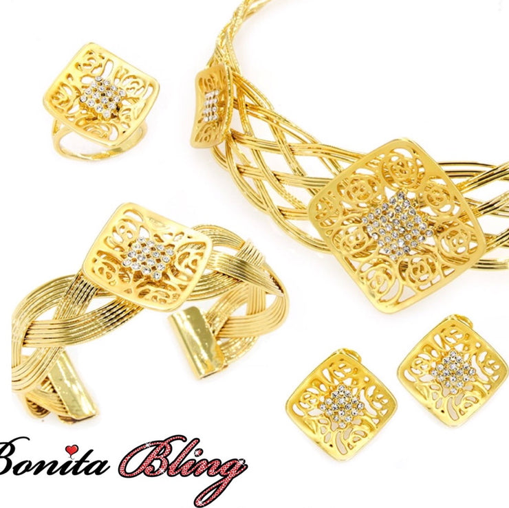 Gold Plated 4-Pcs Set with Crystal