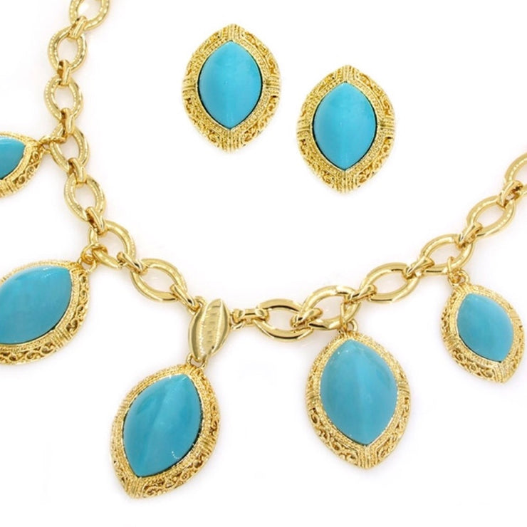 Gold Plated Imitation Turquoise Set