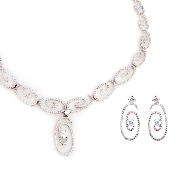 Rhodium Plated CZ 2-Pcs Set
