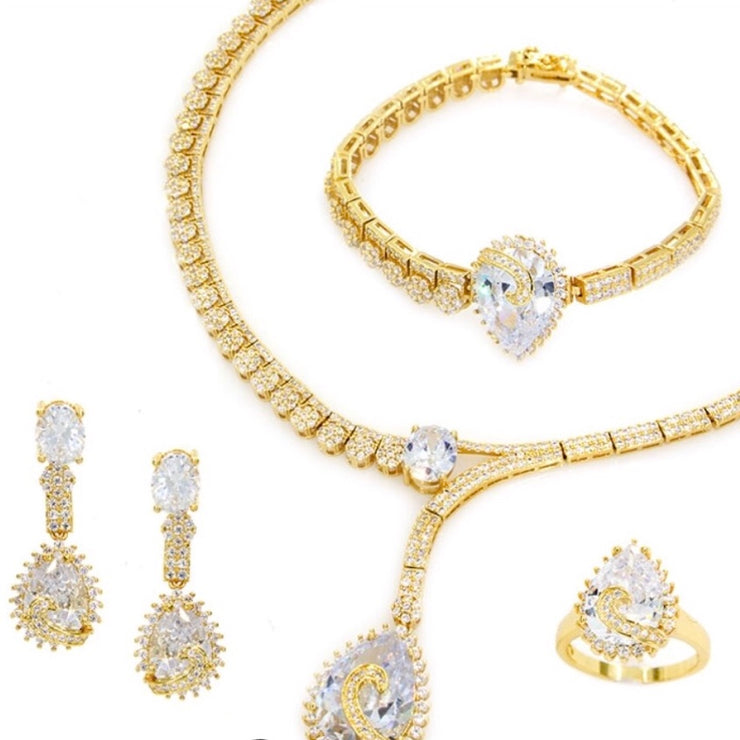 Gold Plated Teardrop CZ Set