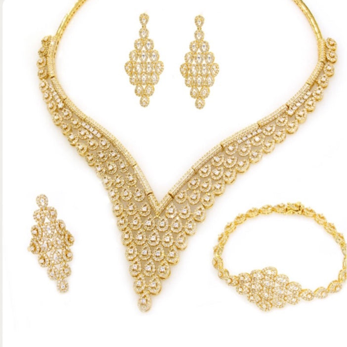 Gold Plated 4-Pcs CZ Set