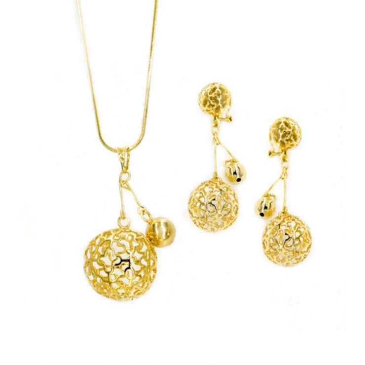 Gold Plated 2-Pcs CZ Set