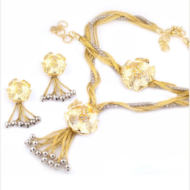Two-Tone Gold Plated Calza Flower Set