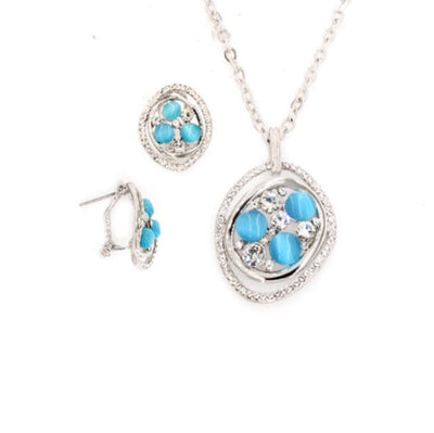 Rhodium PLated Set with Crystal and Glass Stone