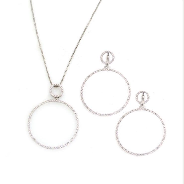 Rhodium Plated Crystal Circle Set