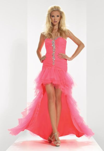 Neon Rose Strapless Dress