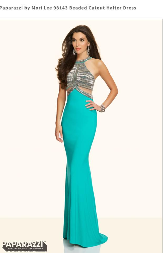 Beaded Cutout Halter Dress