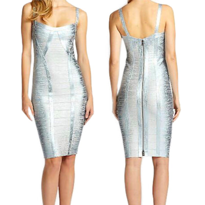 Bonita Bandage Spaghetti Strap Metallic Dress
