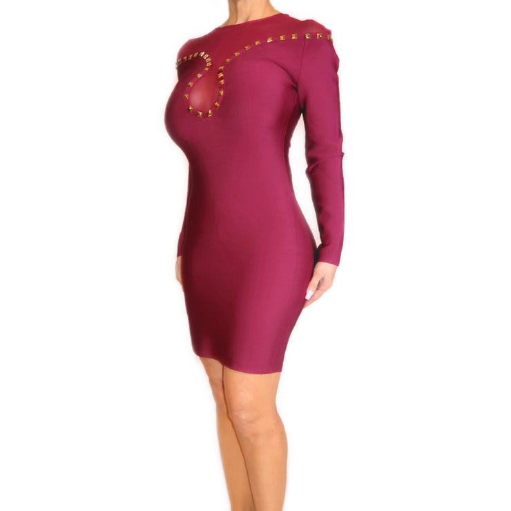 Bonita Bandage Long Sleeve Dress With Gold Rivets