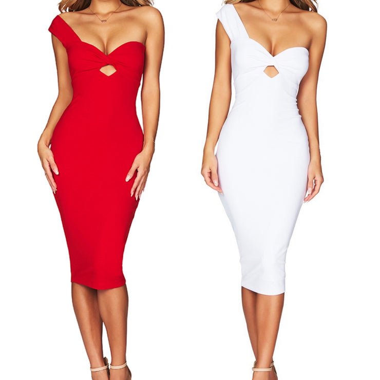 Bonita Bandage One Shoulder V Neck