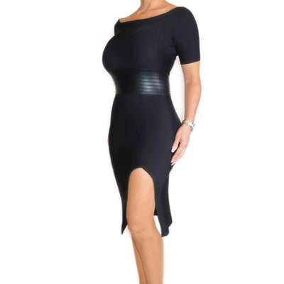 Bonita Bandage Black Dress With Leg Detail