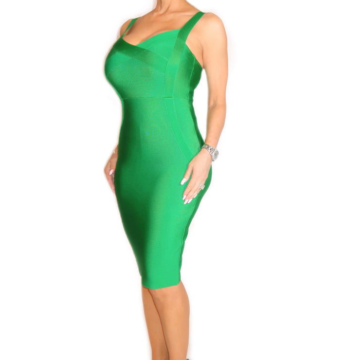 Bonita Bandage Spaghetti Strap Green Dress