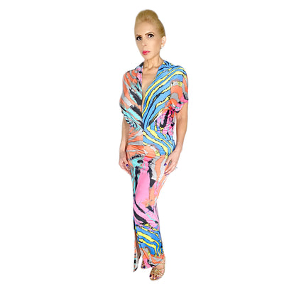 Bonita's Closet Multi Print Long Dress