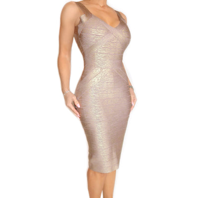 Bonita Bandage Metallic Print Dress