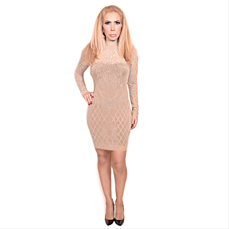 Bonita Cocktail Long Sleeve Nude Dress