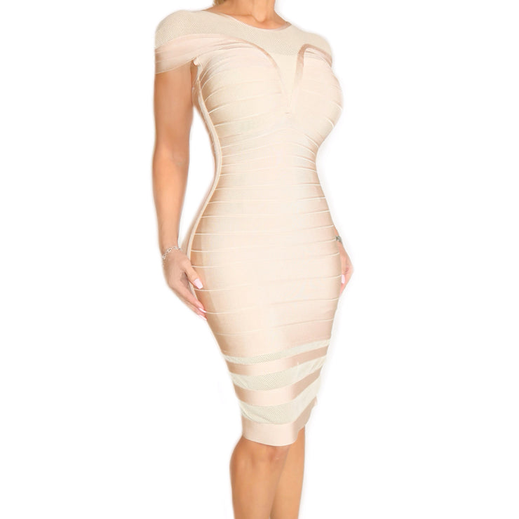 Bonita Bandage Beige Dress With Mesh