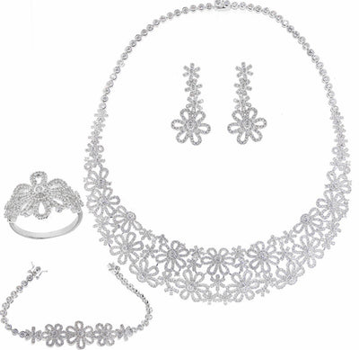 Bonita Jewels Rhodium Plated CZ Set