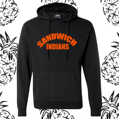 Sandwich Indians Orange Text Hooded Sweatshirt