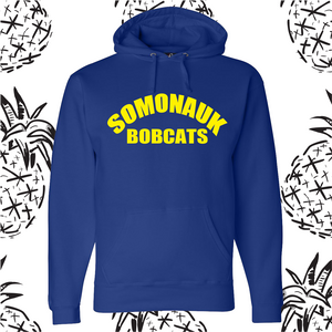 Somonauk Bobcat Yellow Text Hooded Sweatshirt