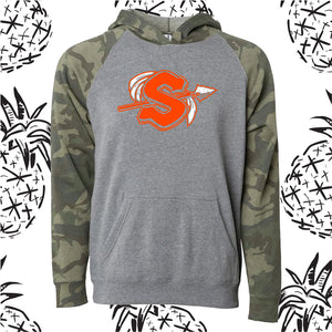 Sandwich Logo Camo Raglan Hooded Sweatshirt