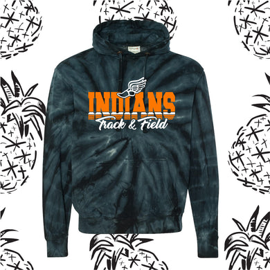 Indians Track Stack Tie Dye Hooded Sweatshirt
