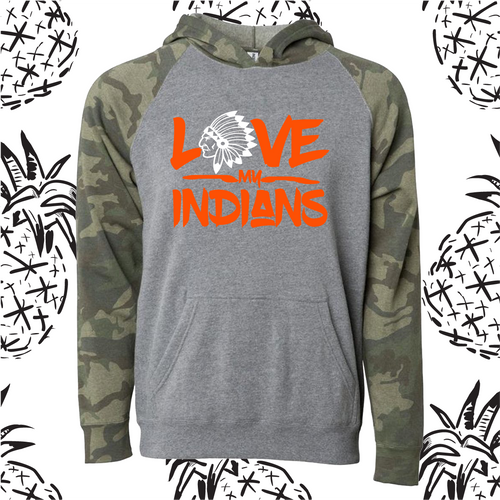 Love My Indians Camo Raglan Hooded Sweatshirt
