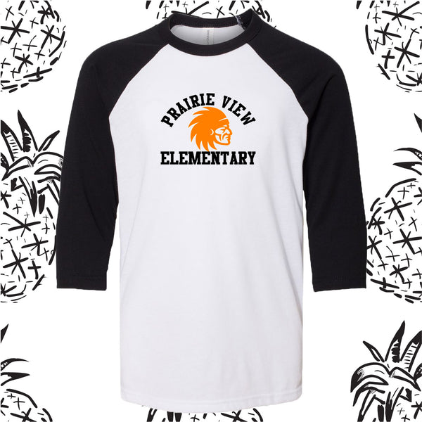 Prairie View Elementary Indian Head Baseball Tee
