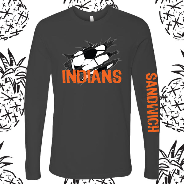 Sandwich Indians Torn Soccer Long Sleeve Tee
