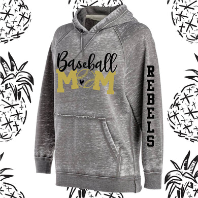 KC Rebel Sports Mom Acid Wash Hooded Sweatshirt