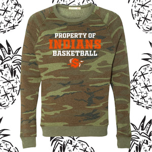 Property of Indians Basketball Camo Crewneck Sweatshirt