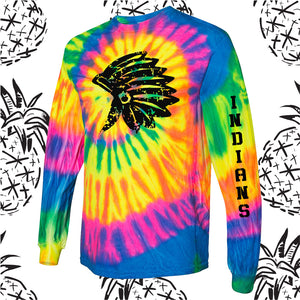 Sandwich Indians Distressed Indian Head Tie Dyed Long Sleeve Tee