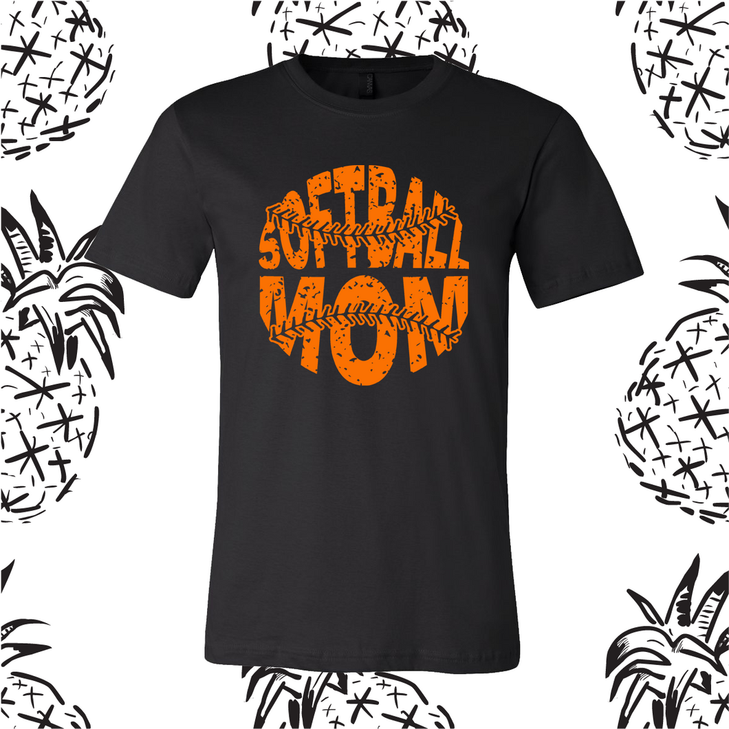 Distressed Softball Mom Tee