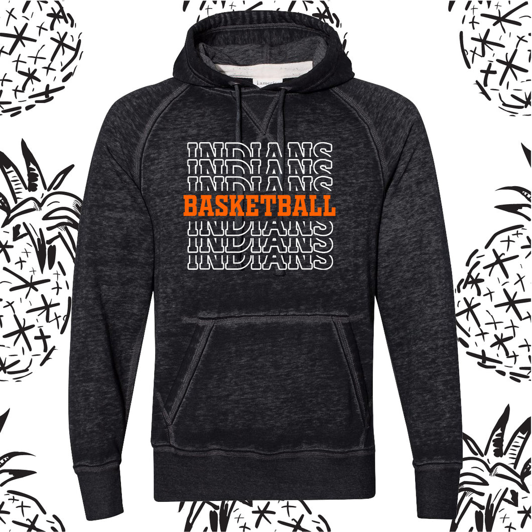 Indians Spirit Stack Basketball Acid Wash Hooded Sweatshirt