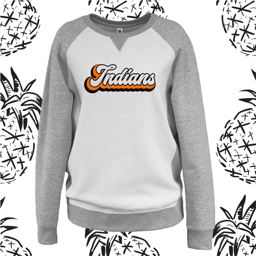 Indians Retro Varsity Women's Fit V-Notch Crewneck Sweatshirt