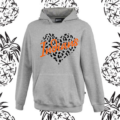 Animal Print Heart Hooded Sweatshirt