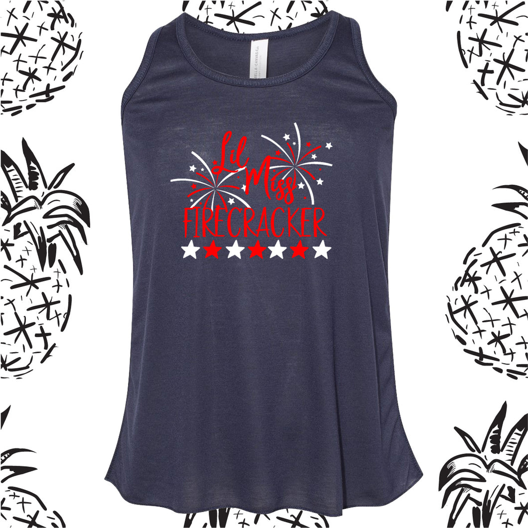 Girls Lil' Miss Firecracker 4th of July Tank